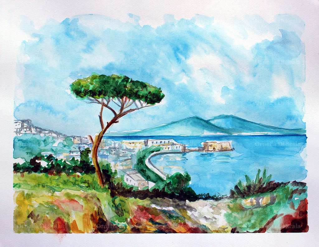 Acquerello golfo di Napoli mare marina vesuvio pino dipinto a mano no stampa