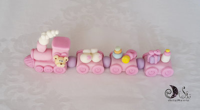 Cake topper trenino battesimo bimba con orsetto compleanno decorazione torta personalizzabile