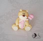 Cake topper bimba compleanno orsetto con palloncino personalizzabile