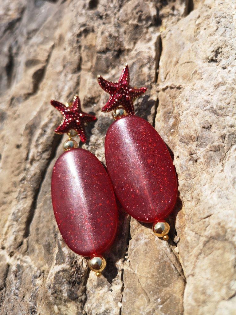 Orecchini rosso bordeaux