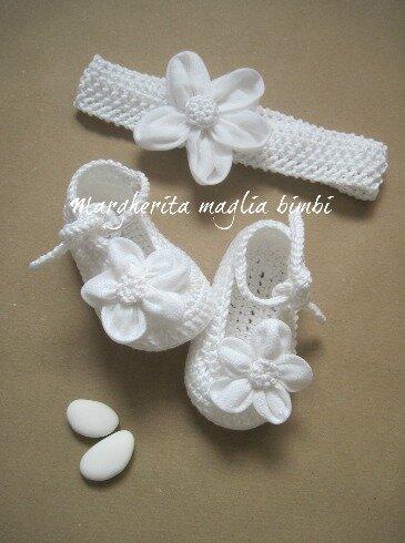 Inserzione riservata per Valentina - scarpine e fascetta bambina - cotone/lino/tulle - Battesimo
