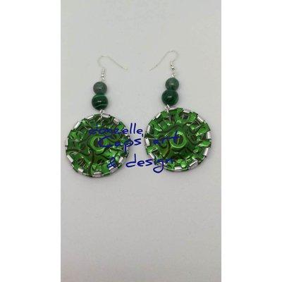 orecchini pendenti verde acceso fatti a mano con capsule del caffè - Linea Gift eight