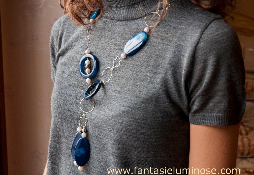 collana agata blu e acciaio