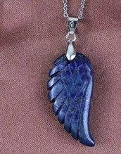 Collana uomo donna con ciondolo ala in vero lapislazzulo pietra dura naturale chakra cristalloterapia