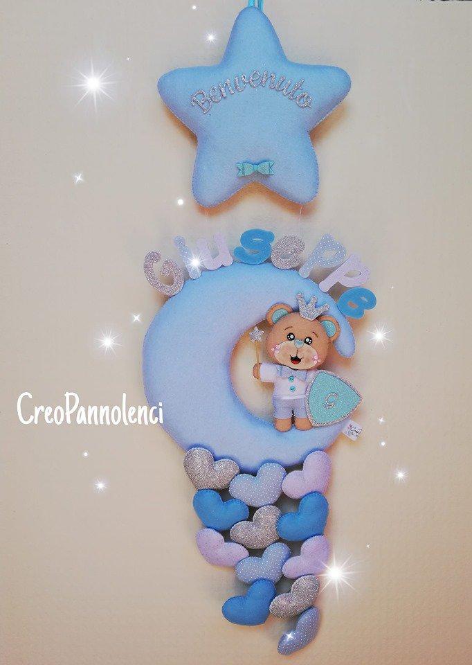 Fiocco nascita Luna con orsetto fatato