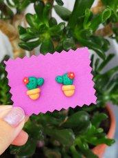 Orecchini da lobo con cactus in fimo, gioielli cactus per regalo bambina, gioielli esotici, orecchini tropicali per l'estate, regalo cactus