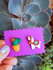 Orecchini da lobo con cactus e lama in fimo, gioielli esotici per regalo bambina, orecchini tropicali per l'estate, regalo cactus