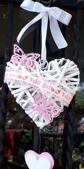 fiocco cuore nascita con farfalle