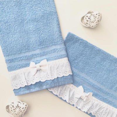 coppia asciugamani (viso ospite) in bordo pizzo sangallo