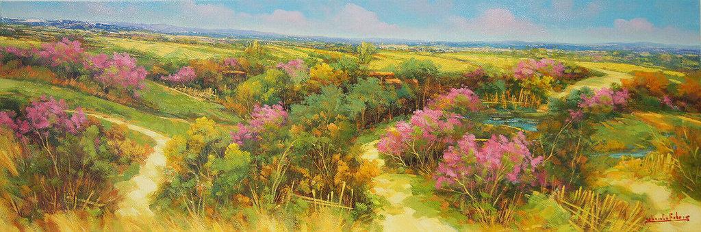 Dipinto olio su tela cm.120 x 40