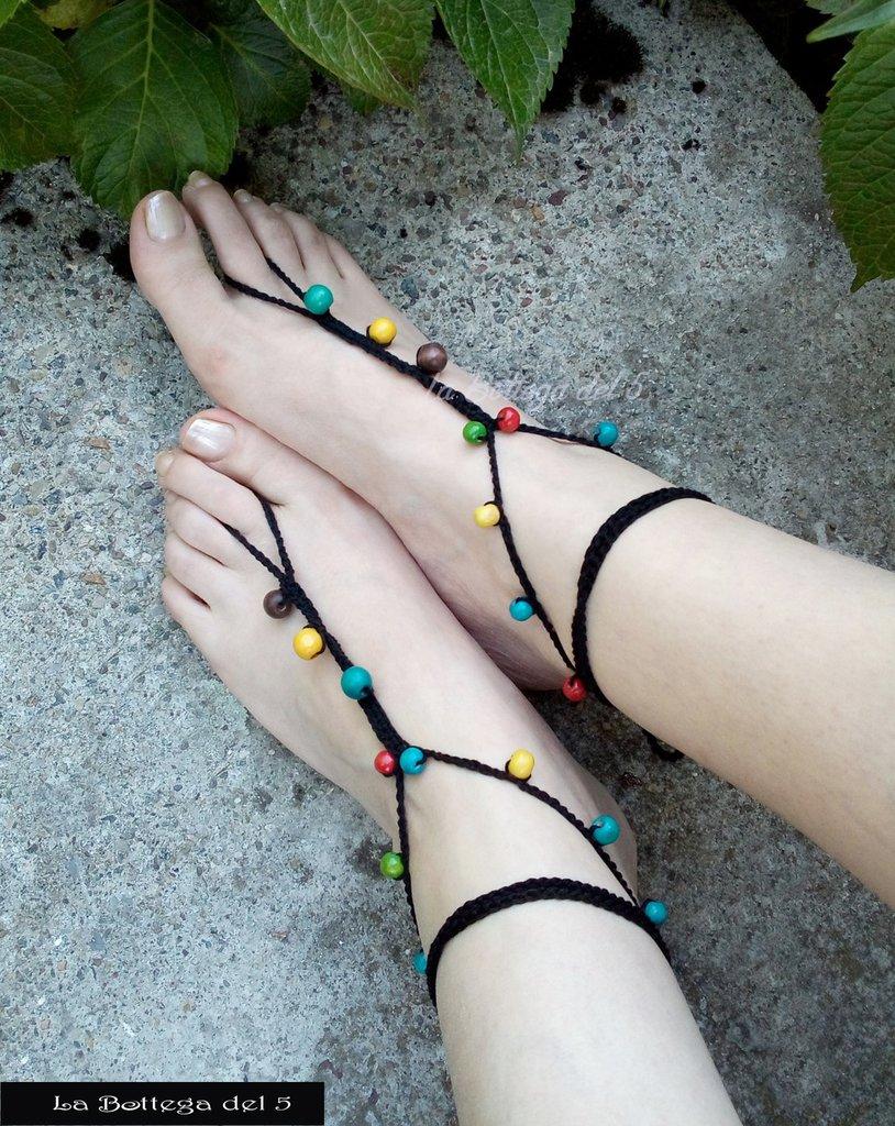 Cavigliera Boho Hippy chic con perle colorate