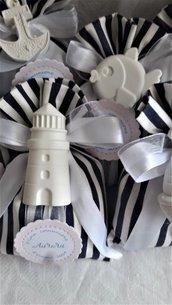 Sacchetti portaconfetti bomboniera tema mare gessetti profumati per nascita,battesimo,nozze,matrimonio, festa di compleanno,