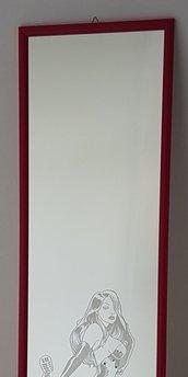 Specchio inciso a mano con ritratto di Jessica Rabbit