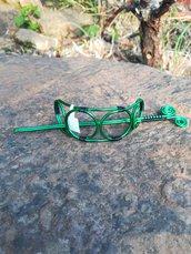 Fermacapelli wire in filo di alluminio verde