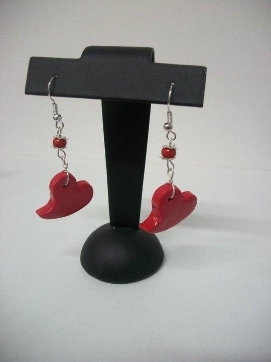 orecchini a cuore rosso