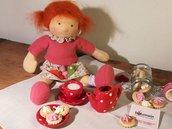 Bambola Waldorf, capelli rossi, 28 cm