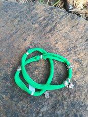 Bracciale in tessuto elastico verde