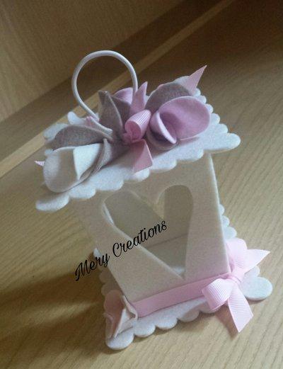 Lanterna bomboniera, idea regalo, fiori e fiocchi