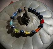 Bracciale arcobaleno perle vetro e acciaio