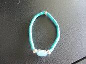 braccialetto elastico turchese heishi