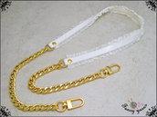 Tracolla per borsa lunga cm.100 - similpelle lucida bianca, impunturata con doppia gala, catena  argento o oro