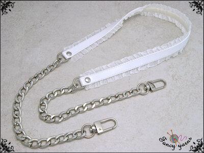 Tracolla per borsa lunga cm.85 - similpelle lucida bianca, impunturata con doppia gala, catena argento o oro