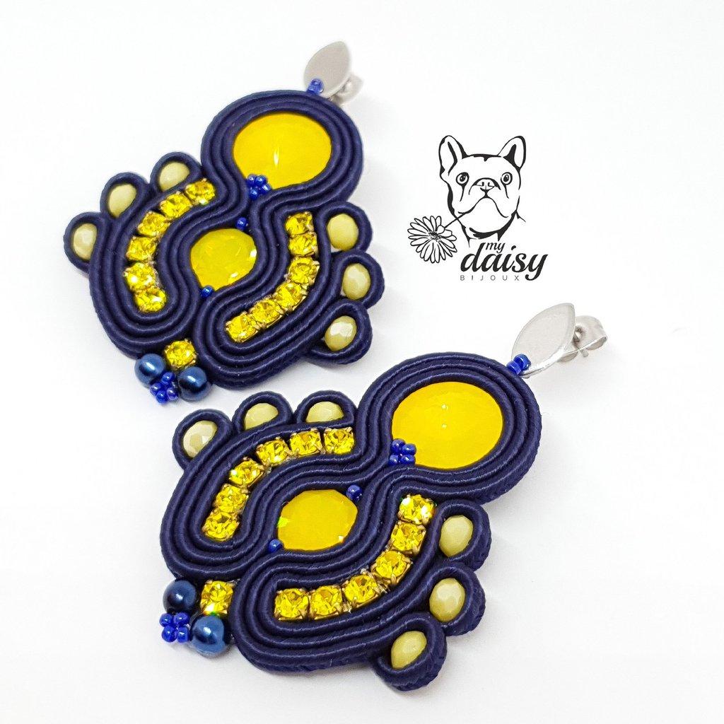 Orecchini blu navy e giallo con swarovski e cristalli - gioielli soutache