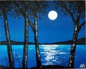 Dipinto. Quadro. Paesaggio. Luna piena