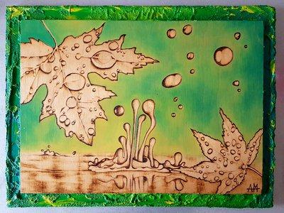 Quadro dipinto e pirografato con cornice.