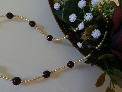 Collana in perle cream e burgundy