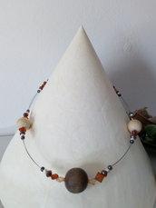 Collana cavetto con perle legno