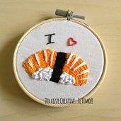 MINI Ricamo in telaio - embroidery - Sushi lover - sushi nigiri salmone - idea regalo kawaii