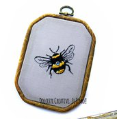 Ricamo in telaio - ottagonale - Ricamo ape con diamante - idea regalo fidanzata - mamma - kawaii