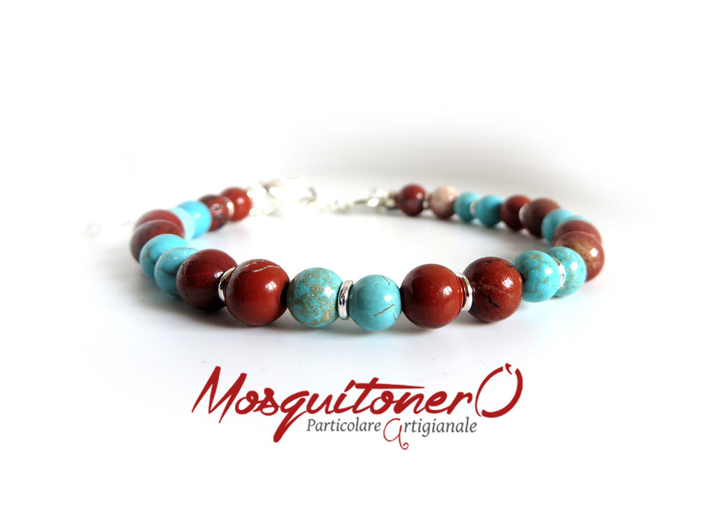Bracciale di perle da uomo in pietre Diaspro Rosso e Turchesite con moschettone e filo in acciaio