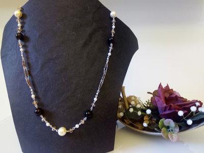 Collana lunga perle e cristalli