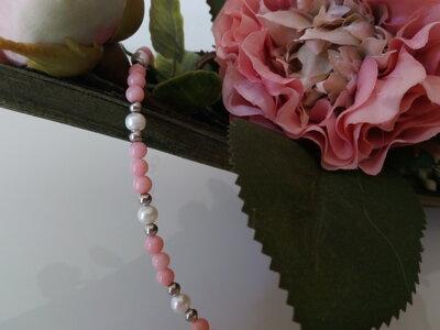 Braccialetto corallo rosa e perle