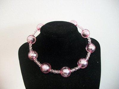 Collana rigida perle e semicristalli rosa
