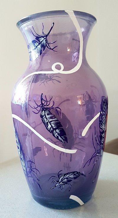 Vaso in vetro dipinto