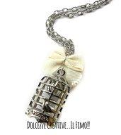 Collana Chiama angeli - Gabbietta con uccellino - Idea regalo donna incinta con fiocco bianco - kawaii