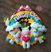 """Fiocco nascita """"unicorni sull""""'arcobaleno"""""""