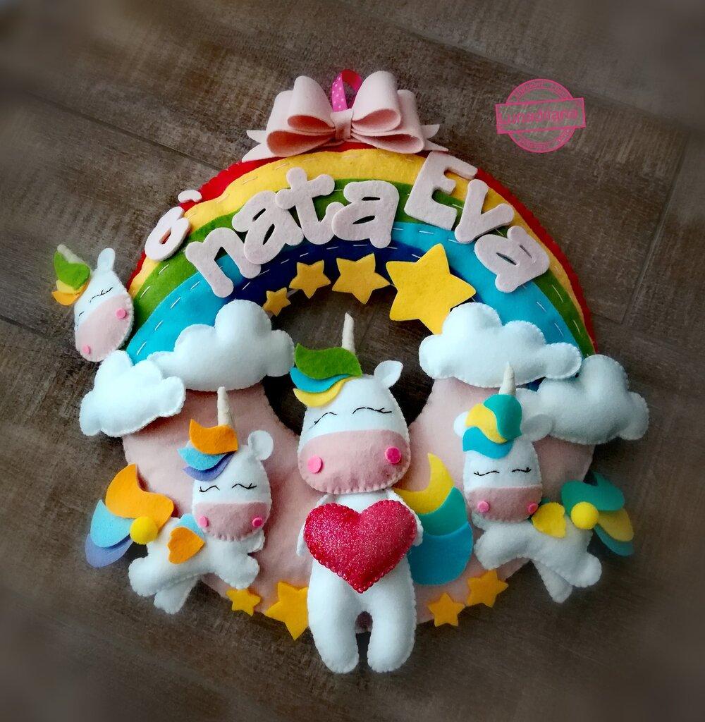 Fiocco Nascita Arcobaleno.Fiocco Nascita Unicorni Sull Arcobaleno Bambini Nascita Di Su Misshobby