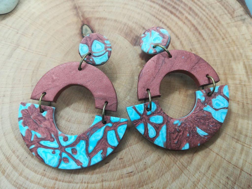 orecchini da donna in pasta polimerica, bronzo e azzurro