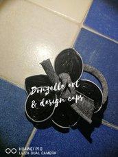 Bracciale fiore nero fatto a mano con capsule caffè - Linea Flower