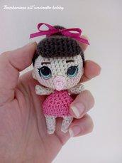 Bomboniera bimba nascita, Battesimo, primo compleanno bambolina con ciuccio amigurumi.
