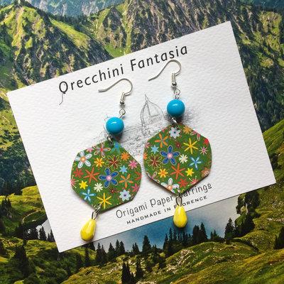 orecchini pendenti fantasia fiori colorati