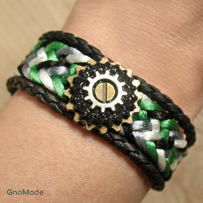 BRACCIALETTO TWIST 11 - intrecciato a mano in verde grigio e nero