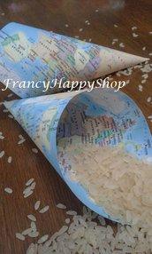 20 coni portariso/mappe/matrimonio tema viaggio/wedding/mappamondo/coni riso/coni riso carta/matrimonio travel/confettata matrimonio
