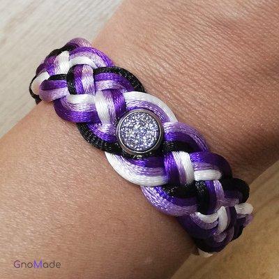 BRACCIALETTO TWIST 15 - con cordini intrecciati bianco, lilla, viola, nero + cabochon glitter lilla