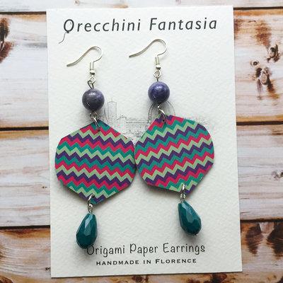 orecchini pendenti fantasia righe colorate