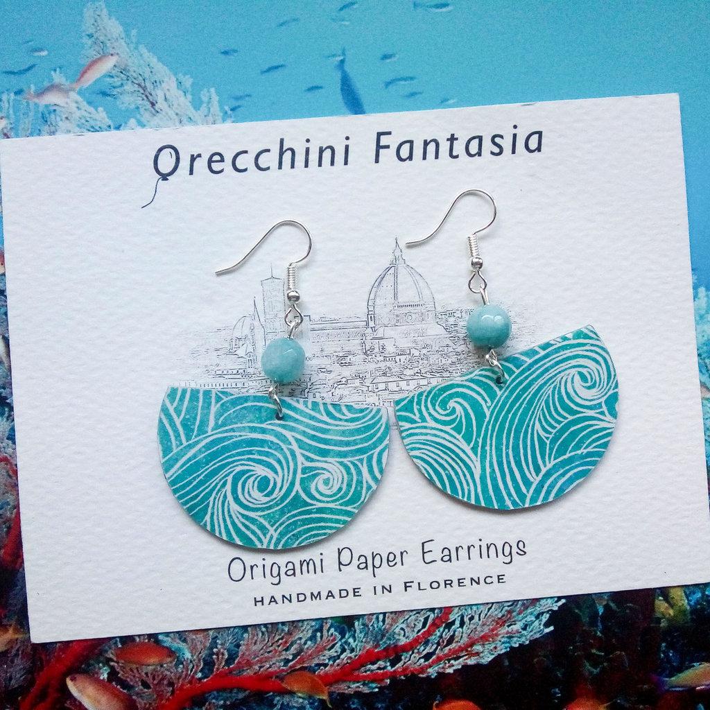 orecchini pendenti fantasia onde mare